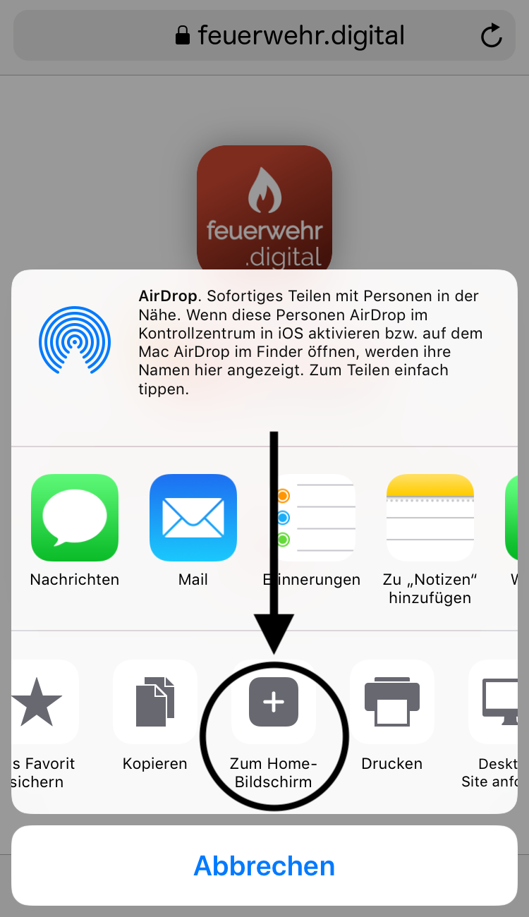 iOS Installation - 2. Schritt